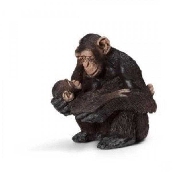 Chimpanzee female with baby - Schleich